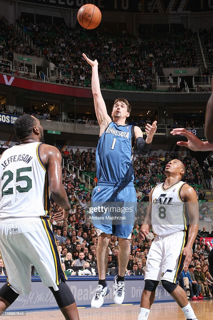 <a gi-track='captionPersonalityLinkClicked' href=/galleries/search?phrase=Alexey+Shved&family=editorial&specificpeople=5557761 ng-click='$event.stopPropagation()'>Alexey Shved</a> #1 of the Minnesota Timberwolves shoots a floater against <a gi-track='captionPersonalityLinkClicked' href=/galleries/search?phrase=Al+Jefferson&family=editorial&specificpeople=201604 ng-click='$event.stopPropagation()'>Al Jefferson</a> #25 and <a gi-track='captionPersonalityLinkClicked' href=/galleries/search?phrase=Randy+Foye&family=editorial&specificpeople=240185 ng-click='$event.stopPropagation()'>Randy Foye</a> #8 of the Utah Jazz at Energy Solutions Arena on January 2, 2013 in Salt Lake City, Utah.