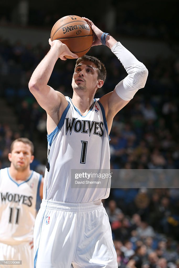 Alexey Shved #1 of the Minnesota Timberwolves shoots a free throw during the game between Philadelphia 76ers and the Minnesota Timberwolves on February 20, 2013 at Target Center in Minneapolis, Minnesota.