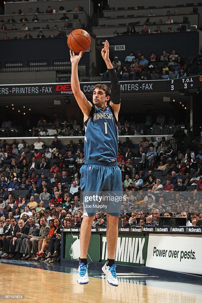 <a gi-track='captionPersonalityLinkClicked' href=/galleries/search?phrase=Alexey+Shved&family=editorial&specificpeople=5557761 ng-click='$event.stopPropagation()'>Alexey Shved</a> #1 of the Minnesota Timberwolves shoots a jumper against the Memphis Grizzlies on March 18, 2013 at FedExForum in Memphis, Tennessee.