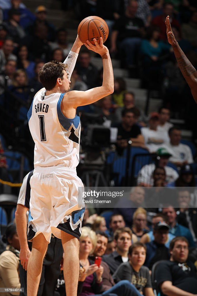 Alexey Shved #1 of the Minnesota Timberwolves shoots a jumpshot against the Cleveland Cavaliers during the game on December 7, 2012 at Target Center in Minneapolis, Minnesota.