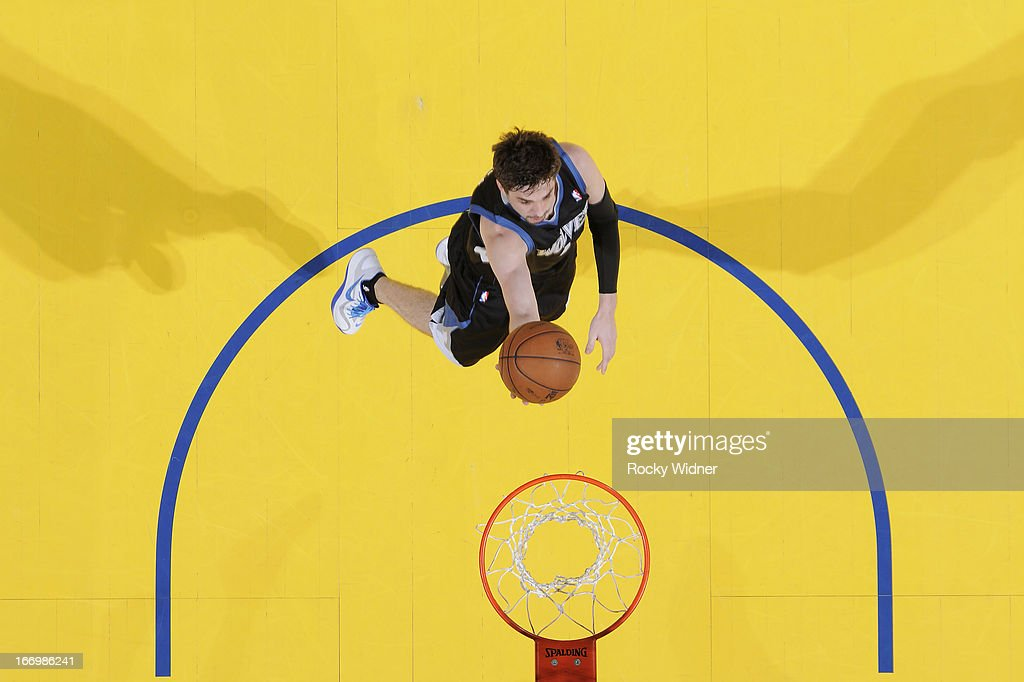 <a gi-track='captionPersonalityLinkClicked' href=/galleries/search?phrase=Alexey+Shved&family=editorial&specificpeople=5557761 ng-click='$event.stopPropagation()'>Alexey Shved</a> #1 of the Minnesota Timberwolves shoots a layup against the Golden State Warriors on April 9, 2013 at Oracle Arena in Oakland, California.