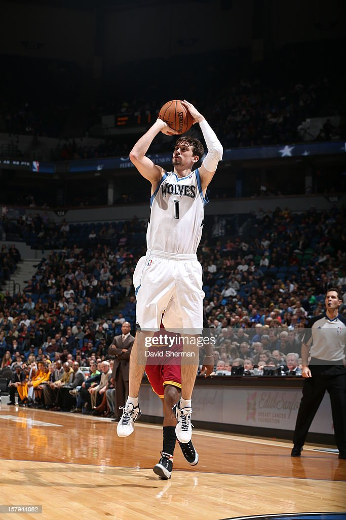 Alexey Shved #1 of the Minnesota Timberwolves shoots a two pointer against the Cleveland Cavaliers during the game on December 7, 2012 at Target Center in Minneapolis, Minnesota.