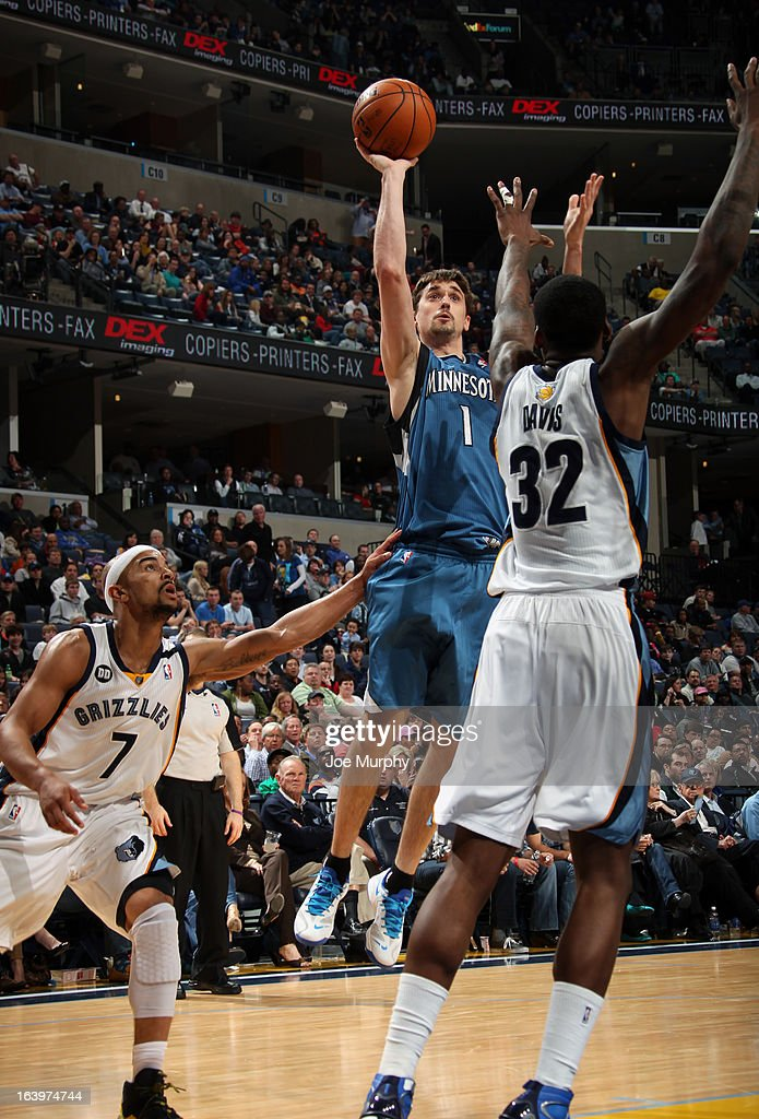 Alexey Shved #1 of the Minnesota Timberwolves shoots against Ed Davis #32 of the Memphis Grizzlies on March 18, 2013 at FedExForum in Memphis, Tennessee.