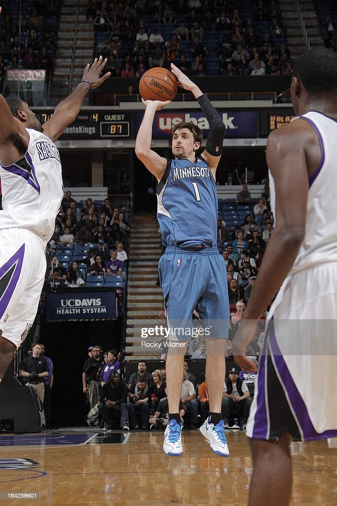 Alexey Shved #1 of the Minnesota Timberwolves shoots the ball against the Sacramento Kings on March 21, 2013 at Sleep Train Arena in Sacramento, California.