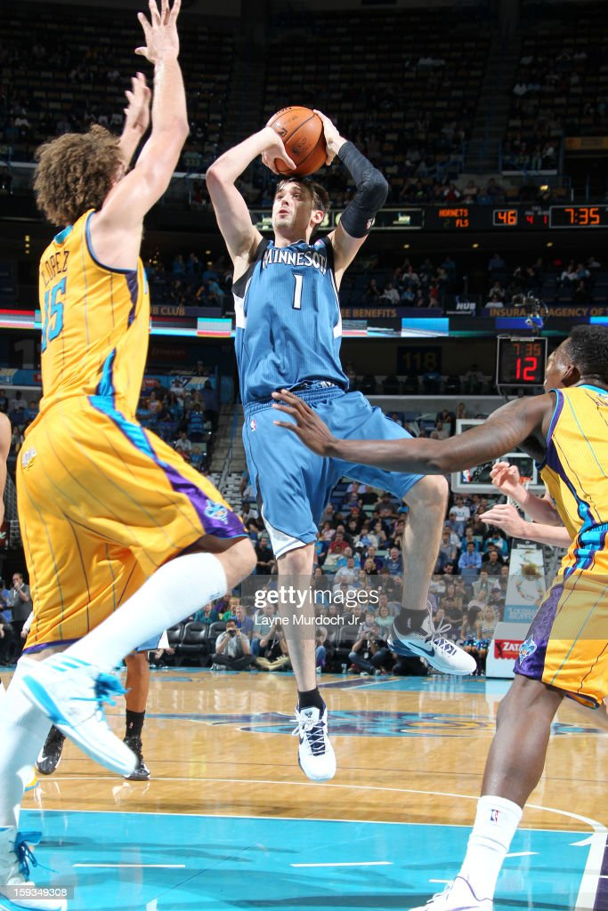 <a gi-track='captionPersonalityLinkClicked' href=/galleries/search?phrase=Alexey+Shved&family=editorial&specificpeople=5557761 ng-click='$event.stopPropagation()'>Alexey Shved</a> #1 of the Minnesota Timberwolves takes a shot against the New Orleans Hornets on January 11, 2013 at the New Orleans Arena in New Orleans, Louisiana.