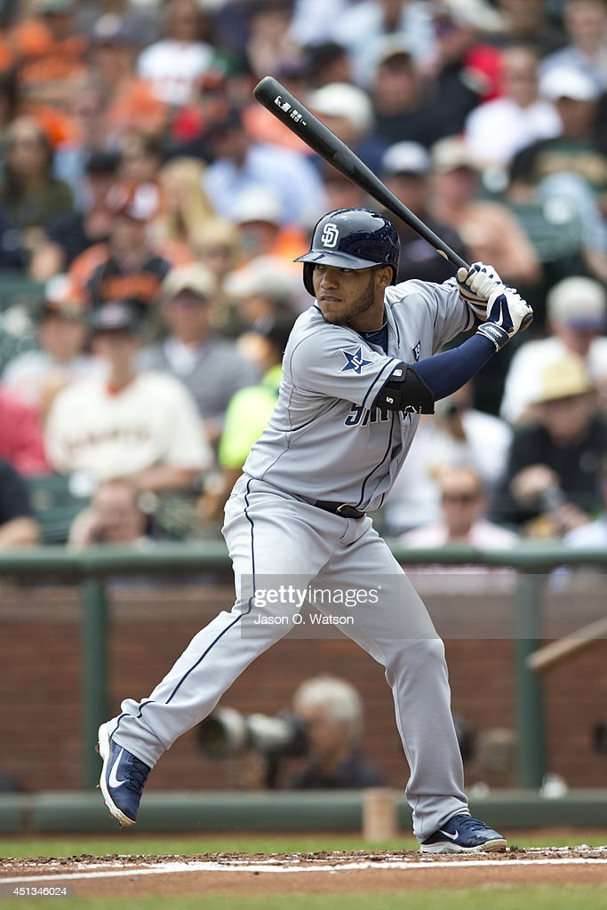 Alexi Amarista of the San Diego Padres at bat against the San Francisco Giants during the second inning at ATT Park on June 25 2014 in San Francisco...