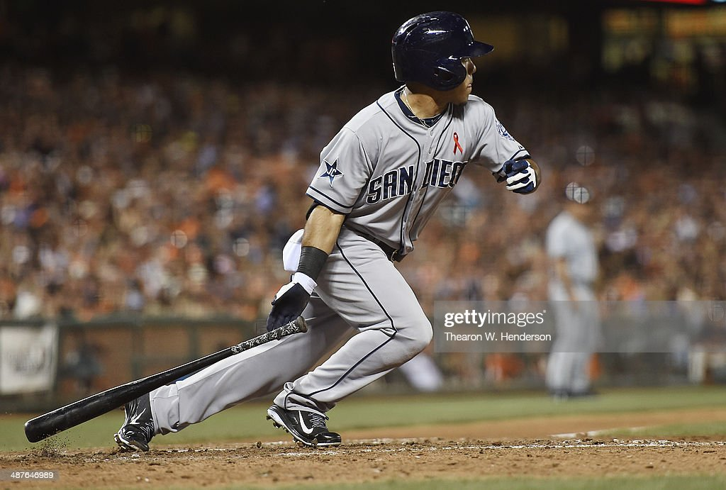 Alexi Amarista of the San Diego Padres bats against the San Francisco Giants in the top of the eighth inning at ATT Park on April 30 2014 in San...