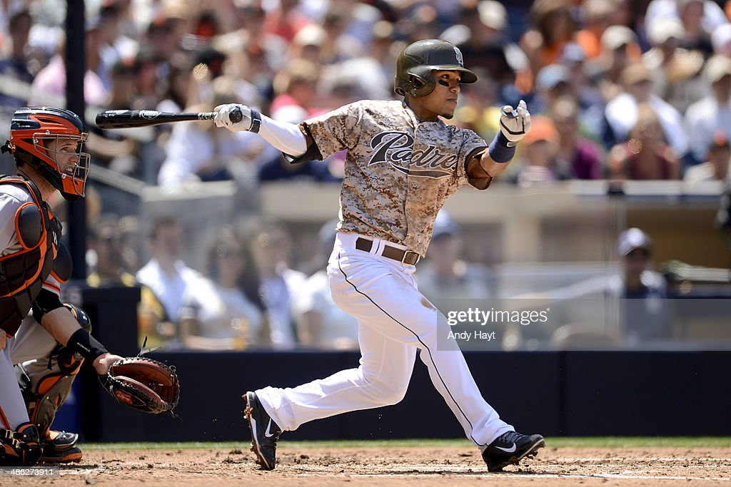 Alexi Amarista of the San Diego Padres hits in the game against the San Francisco Giants at Petco Park on April 20 2014
