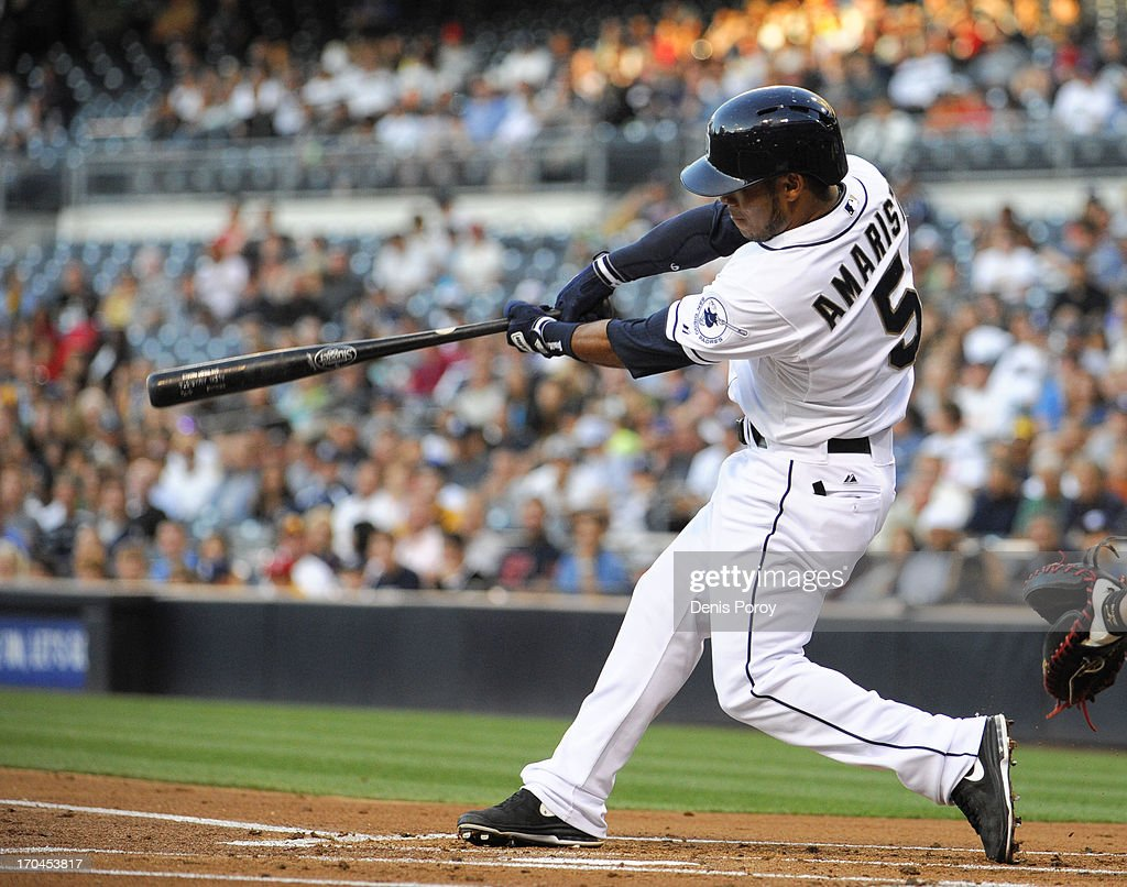 Alexi Amarista of the San Diego Padres plays during a baseball game against the Atlanta Braves at Petco Park on June 10 2013 in San Diego California