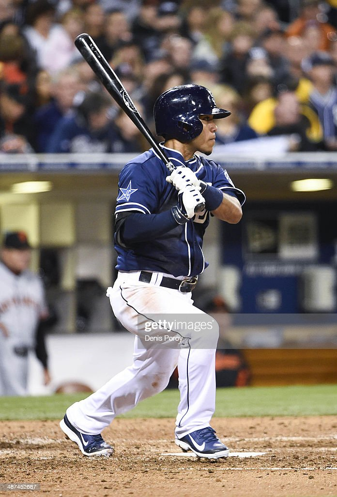 Alexi Amarista of the San Diego Padres plays during a baseball game against the San Francisco Giants at Petco Park April 19 2014 in San Diego...
