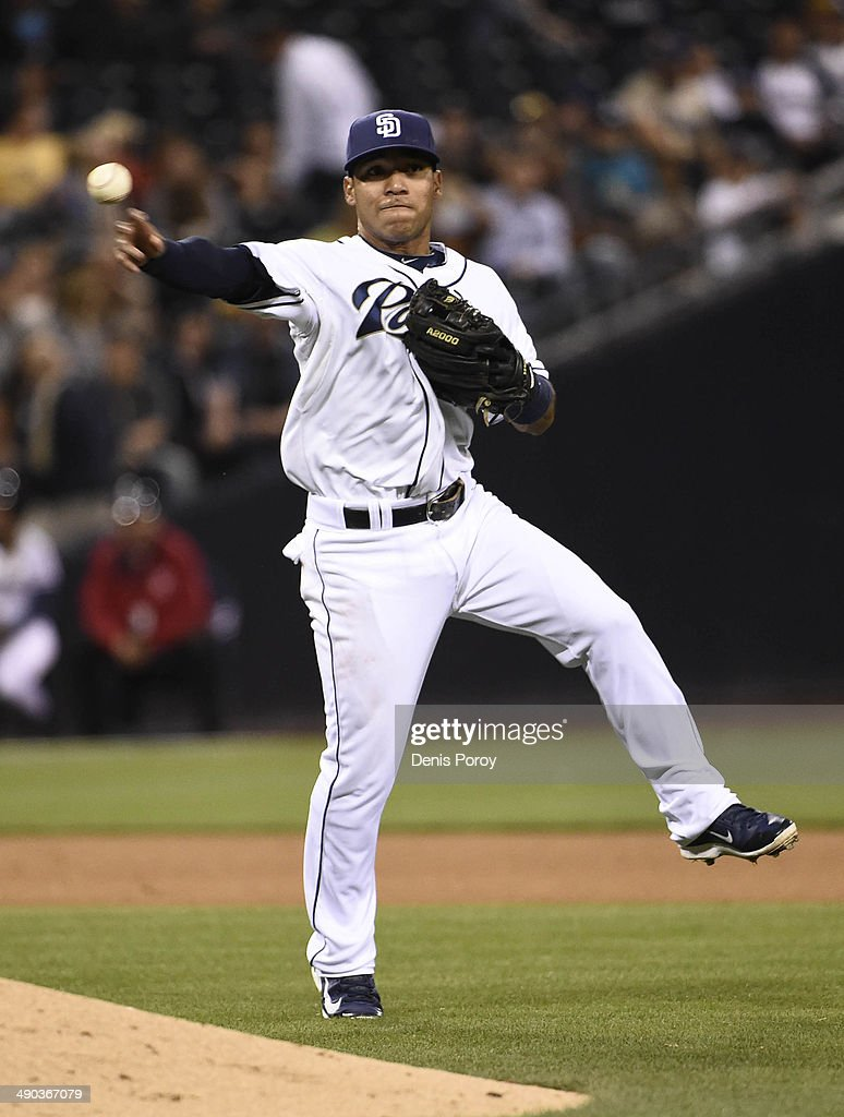 Alexi Amarista of the San Diego Padres plays during a baseball game against the Miami Marlins at Petco Park May 9 2014 in San Diego California