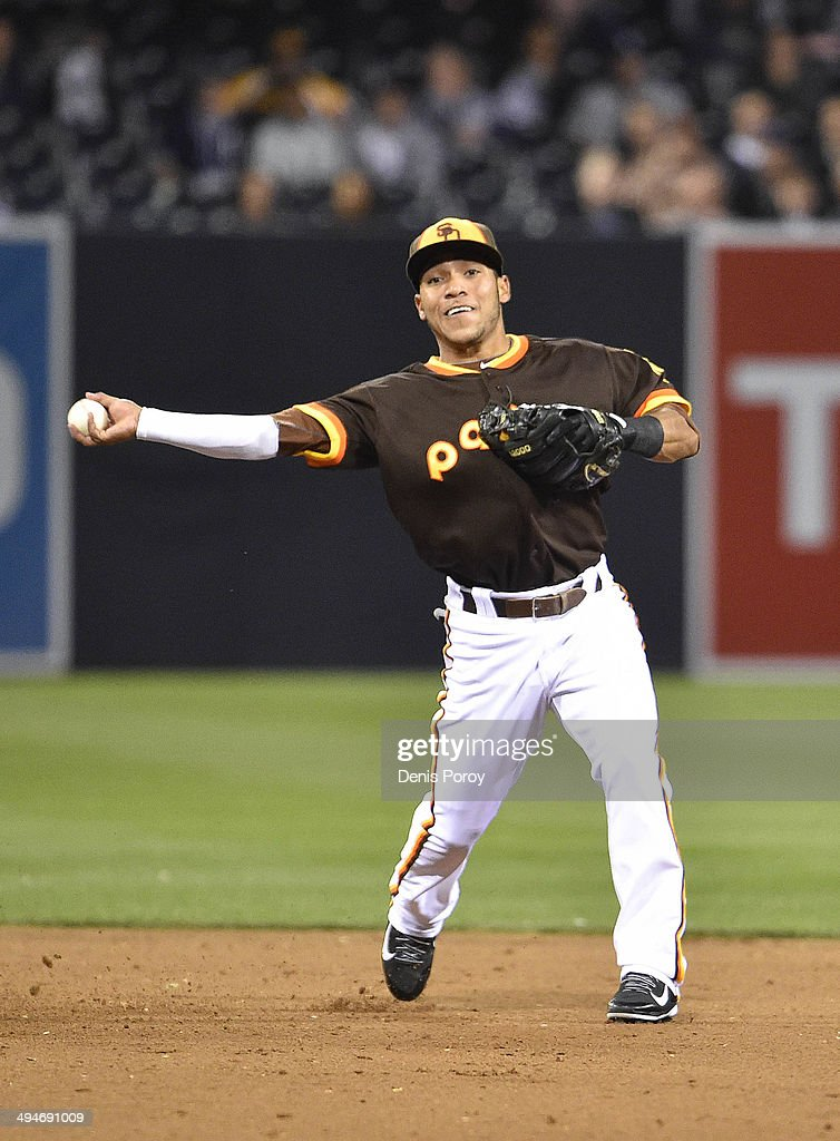 Alexi Amarista of the San Diego Padres plays during the game against the Chicago Cubs at Petco Park on May 23 2014 in San Diego California