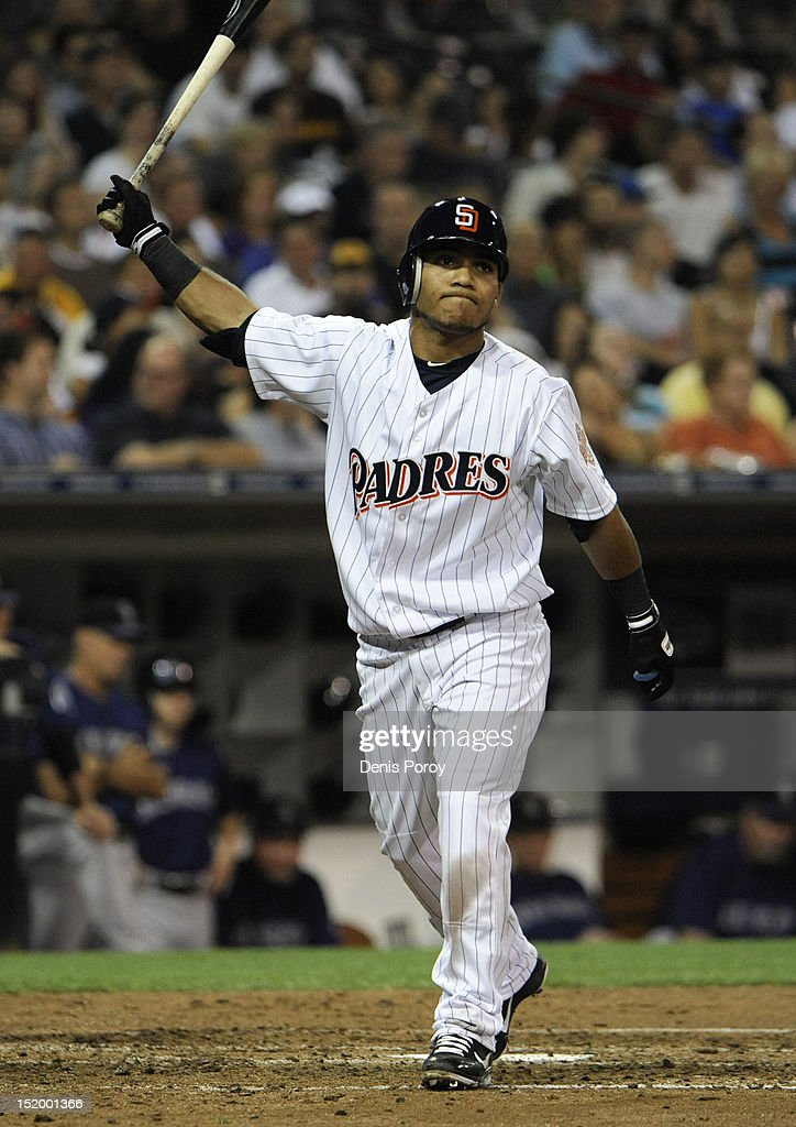 <a gi-track='captionPersonalityLinkClicked' href=/galleries/search?phrase=Alexi+Amarista&family=editorial&specificpeople=6795464 ng-click='$event.stopPropagation()'>Alexi Amarista</a> #5 of the San Diego Padres reacts after striking out during the fourth inning of a baseball game against the Colorado Rockies at Petco Park on September 14, 2012 in San Diego, California.