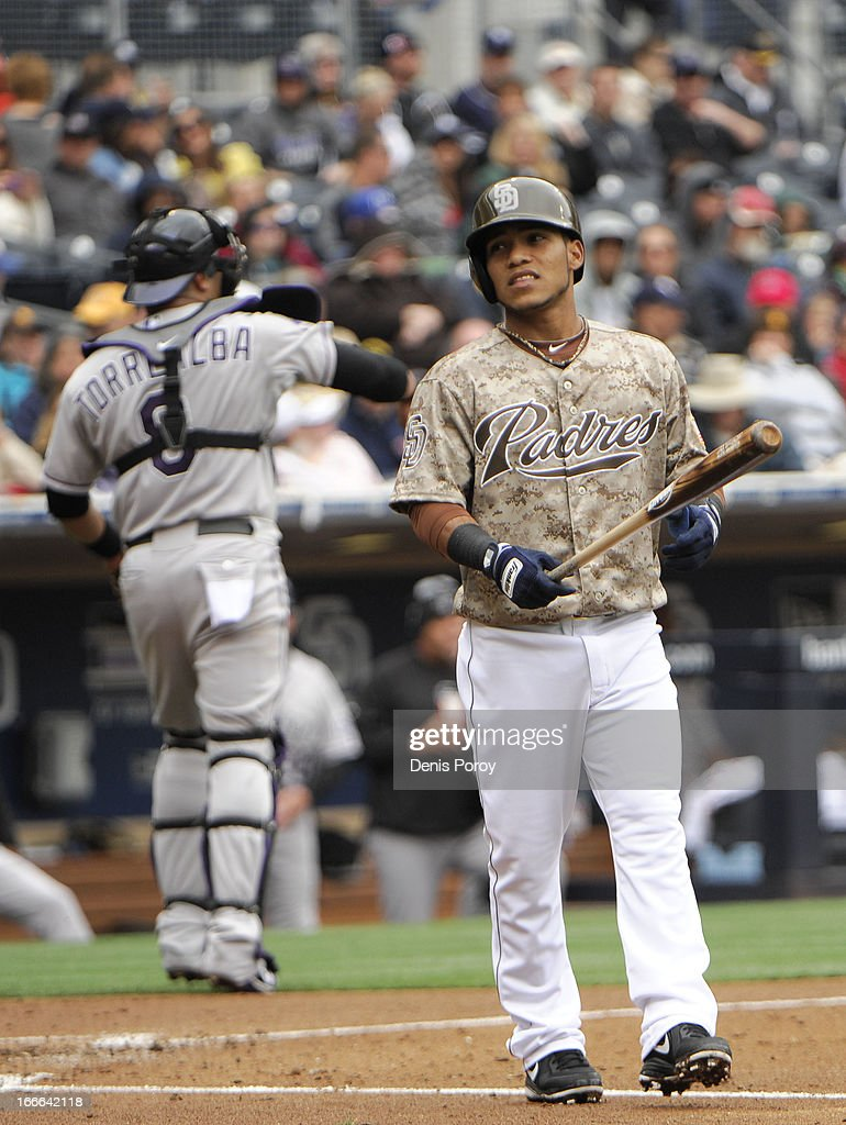 <a gi-track='captionPersonalityLinkClicked' href=/galleries/search?phrase=Alexi+Amarista&family=editorial&specificpeople=6795464 ng-click='$event.stopPropagation()'>Alexi Amarista</a> #5 of the San Diego Padres reacts after striking out during the second inning of a baseball game against the Colorado Rockies at Petco Park on April 14, 2013 in San Diego, California.