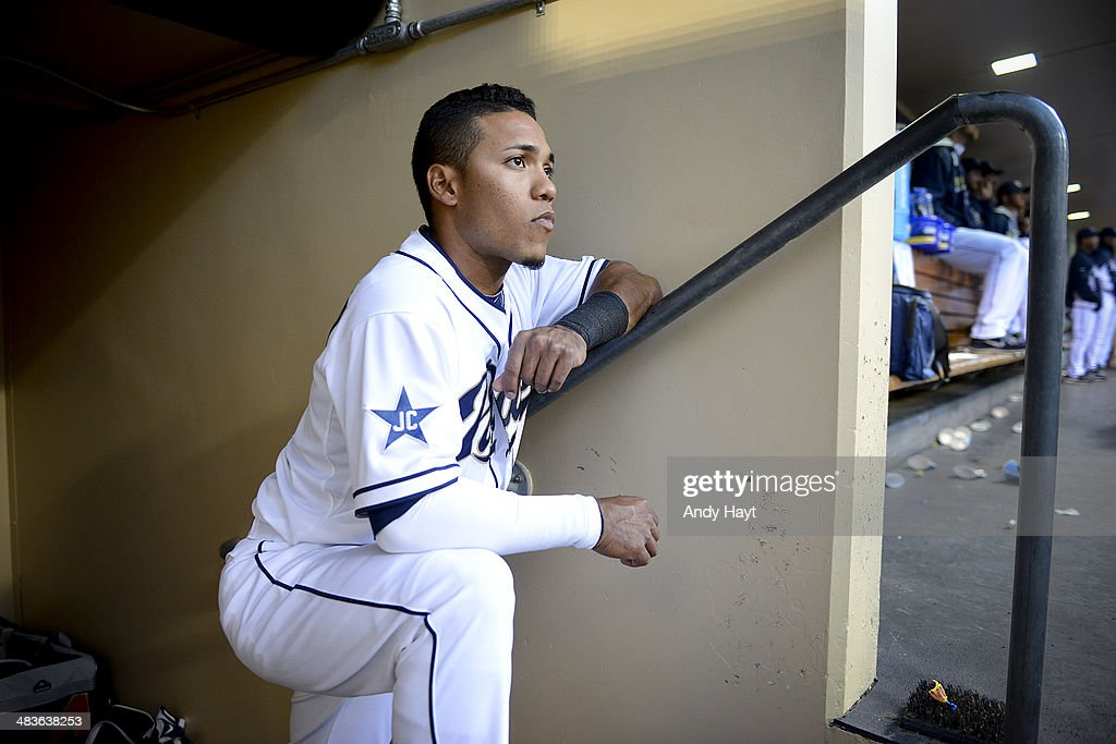 Alexi Amarista of the San Diego Padres waits for the start of the game against the Los Angeles Dodgers at Petco Park on April 2 2014 in San Diego...