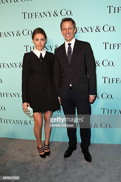 Alexi Ashe and Seth Meyers attend the 2014 Tiffany's Blue Book Gala at the Guggenheim Museum on April 10 2014 in New York City