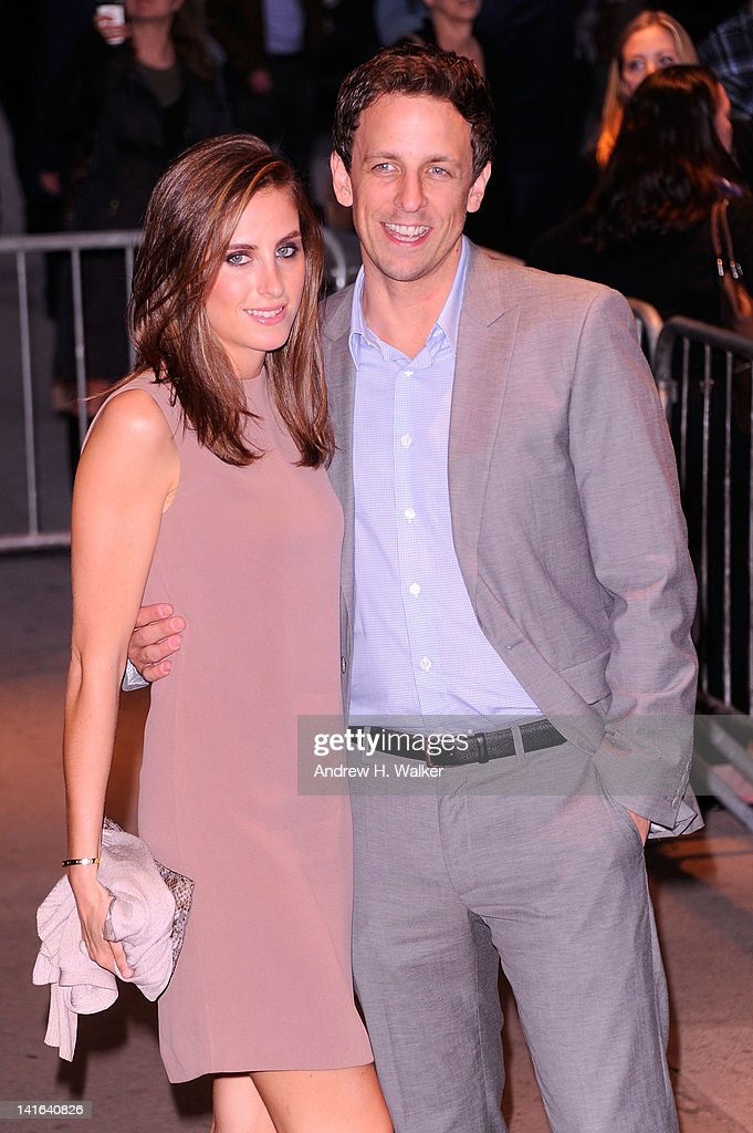 Alexi Ashe and <a gi-track='captionPersonalityLinkClicked' href=/galleries/search?phrase=Seth+Meyers&family=editorial&specificpeople=618859 ng-click='$event.stopPropagation()'>Seth Meyers</a> attend the Cinema Society & Calvin Klein Collection screening of 'The Hunger Games' at SVA Theatre on March 20, 2012 in New York City.