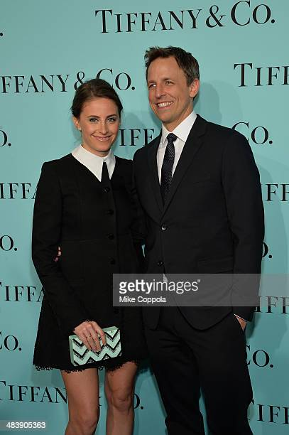 Alexi Ashe and Seth Meyers attend the Tiffany Debut of the 2014 Blue Book on April 10 2014 at the Guggenheim Museum in New York United States