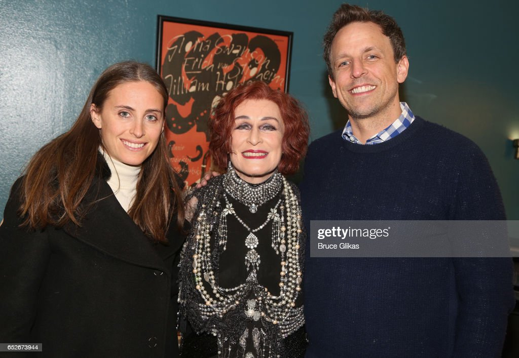 Alexi Ashe Meyers, Glenn Close as 'Norma Desmond' and Seth Meyers pose backstage at the hit musical 'Sunset Boulevard' on Broadway at The Palace Theatre on March 12, 2017 in New York City.