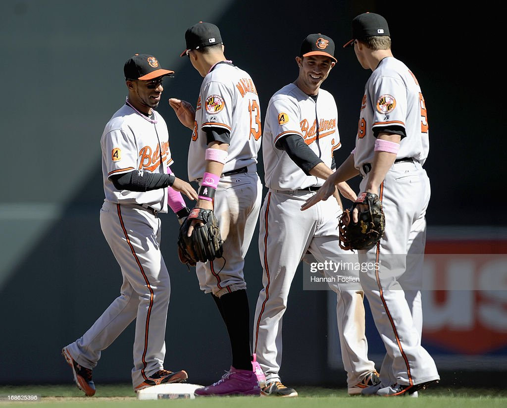 <a gi-track='captionPersonalityLinkClicked' href=/galleries/search?phrase=Alexi+Casilla&family=editorial&specificpeople=4180372 ng-click='$event.stopPropagation()'>Alexi Casilla</a> #12, <a gi-track='captionPersonalityLinkClicked' href=/galleries/search?phrase=Manny+Machado&family=editorial&specificpeople=5591039 ng-click='$event.stopPropagation()'>Manny Machado</a> #13, <a gi-track='captionPersonalityLinkClicked' href=/galleries/search?phrase=J.J.+Hardy&family=editorial&specificpeople=216446 ng-click='$event.stopPropagation()'>J.J. Hardy</a> #2 and Chris Davis #19 of the Baltimore Orioles celebrate a win of the game against the Minnesota Twins on May 12, 2013 at Target Field in Minneapolis, Minnesota. The Orioles defeated the Twins 6-0.