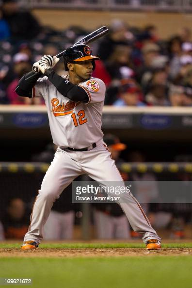 Alexi Casilla of the Baltimore Orioles bats against the Minnesota Twins on May 11 2013 at Target Field in Minneapolis Minnesota The Twins defeated...