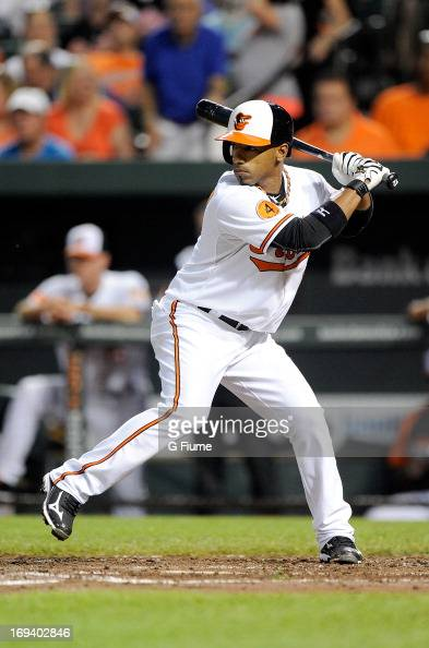 Alexi Casilla of the Baltimore Orioles bats against the New York Yankees at Oriole Park at Camden Yards on May 22 2013 in Baltimore Maryland