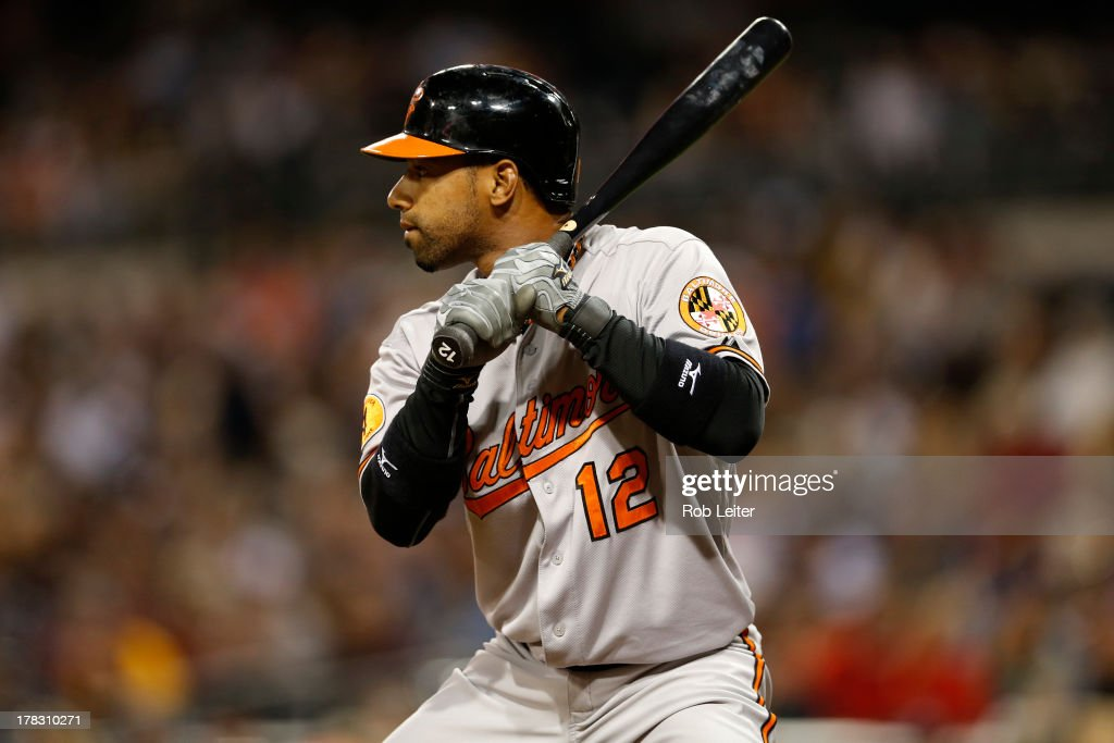 Alexi Casilla of the Baltimore Orioles bats during the game against the San Diego Padres at Petco Park on August 6 2013 in San Diego California The...