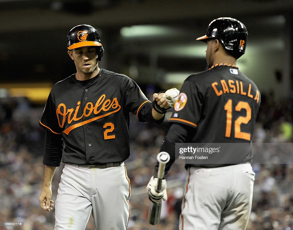 Alexi Casilla #12 of the Baltimore Orioles congratulates teammate J.J. Hardy #2 on scoring a run against the Minnesota Twins during the sixth inning of the game on May 10, 2013 at Target Field in Minneapolis, Minnesota.