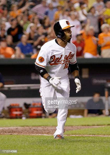 Alexi Casilla of the Baltimore Orioles follows his three RBI home run in the seventh inning of the Orioles 63 win over the Cleveland Indians at...
