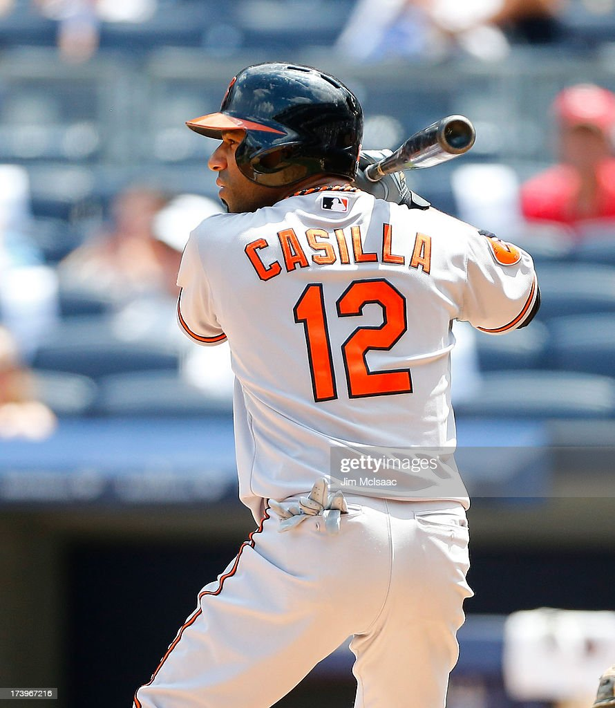 Alexi Casilla of the Baltimore Orioles in action against the New York Yankees at Yankee Stadium on July 6 2013 in the Bronx borough of New York City...