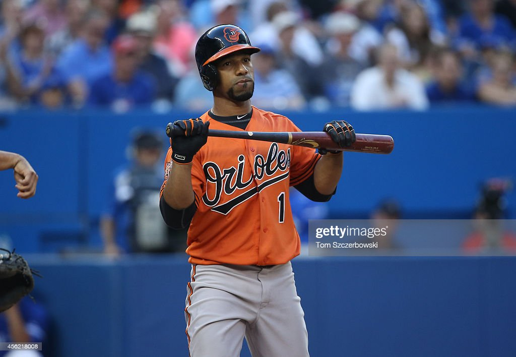 <a gi-track='captionPersonalityLinkClicked' href=/galleries/search?phrase=Alexi+Casilla&family=editorial&specificpeople=4180372 ng-click='$event.stopPropagation()'>Alexi Casilla</a> #1 of the Baltimore Orioles reacts after striking out swinging in the eighth inning during MLB game action against the Toronto Blue Jays on September 27, 2014 at Rogers Centre in Toronto, Ontario, Canada.