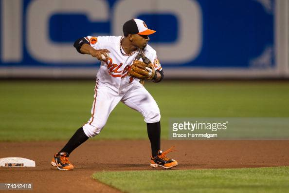 Alexi Casilla of the Baltimore Orioles throws against the Texas Rangers on July 8 2013 at Oriole Park at Camden Yards in Baltimore Maryland The...