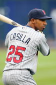 Alexi Casilla of the Minnesota Twins stands ready at bat during warmups before the game against the Kansas City Royals on May 28 2008 at Kauffman...