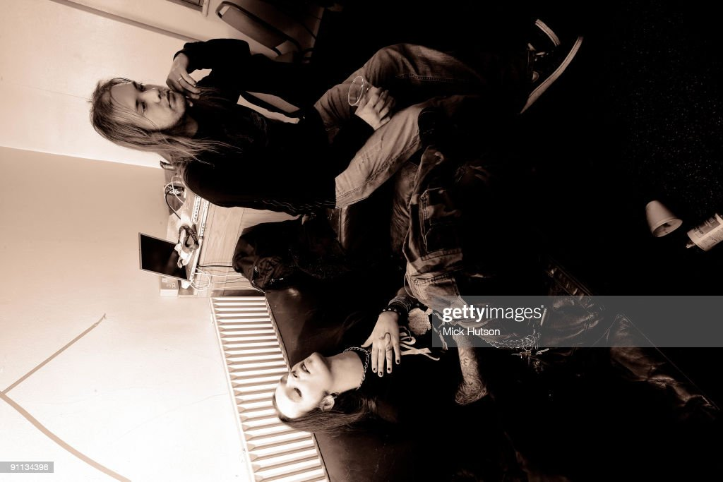 FINLAND Alexi Laiho from Children Of Bodom and a fellow band member relax backstage in Finland in 2006