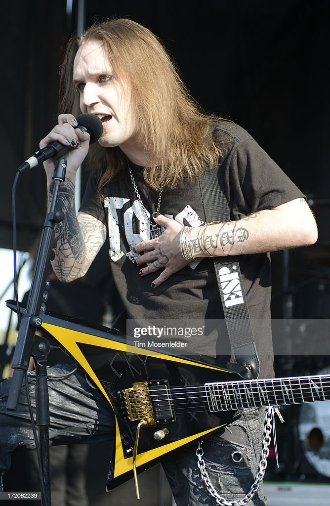 Alexi Laiho of Children of Bodom performs as part of the Rockstar Energy Drink Mayhem Festival at Shoreline Amphitheatre on June 30, 2013 in Mountain View, California.