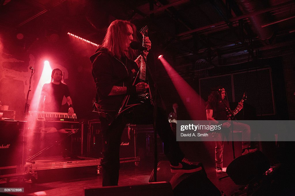 Alexi Laiho of Children of Bodom performs at Saturn Birmingham on February 11 2016 in Birmingham Alabama