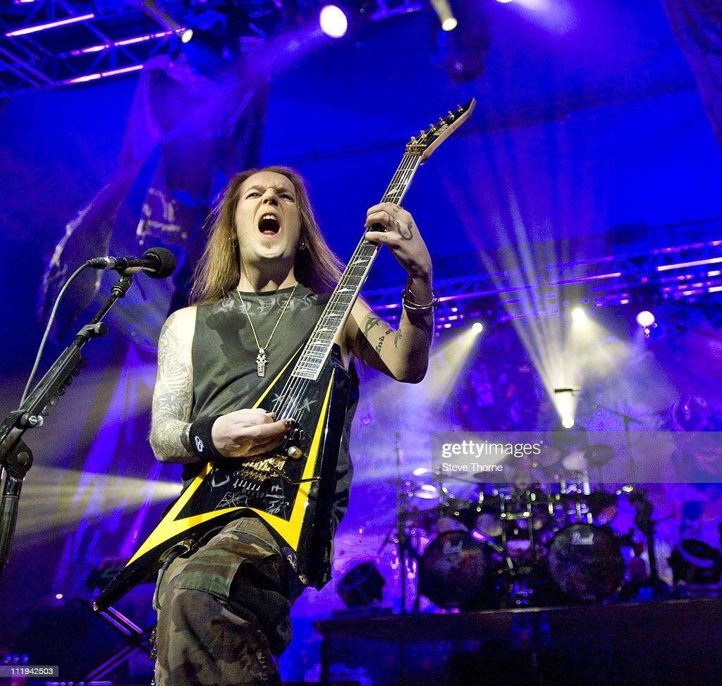 Alexi Laiho of Children of Bodom performs on stage at O2 Academy on April 8 2011 in Birmingham United Kingdom