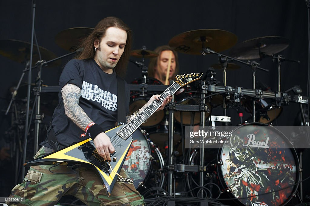 Alexi Laiho of Children of Bodom performs on stage during the first day of Download Festival at Donnington Park on June 10 2011 in Donnington United...