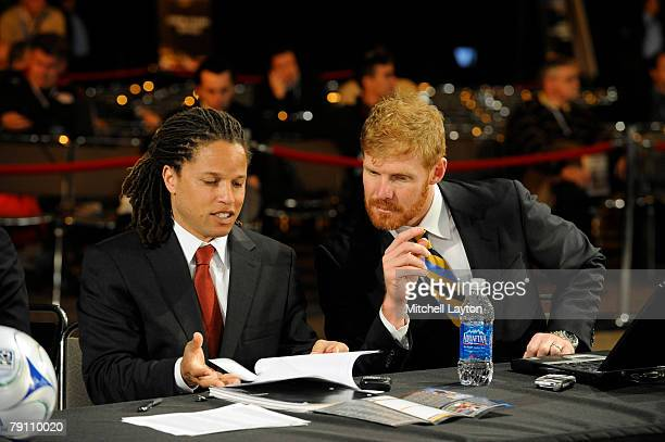 Alexi Lalas president and general manager and Cobi Jones assistant coach of Los Angles Galaxy talk before the MLS Super Draft on January 18 2008 at...