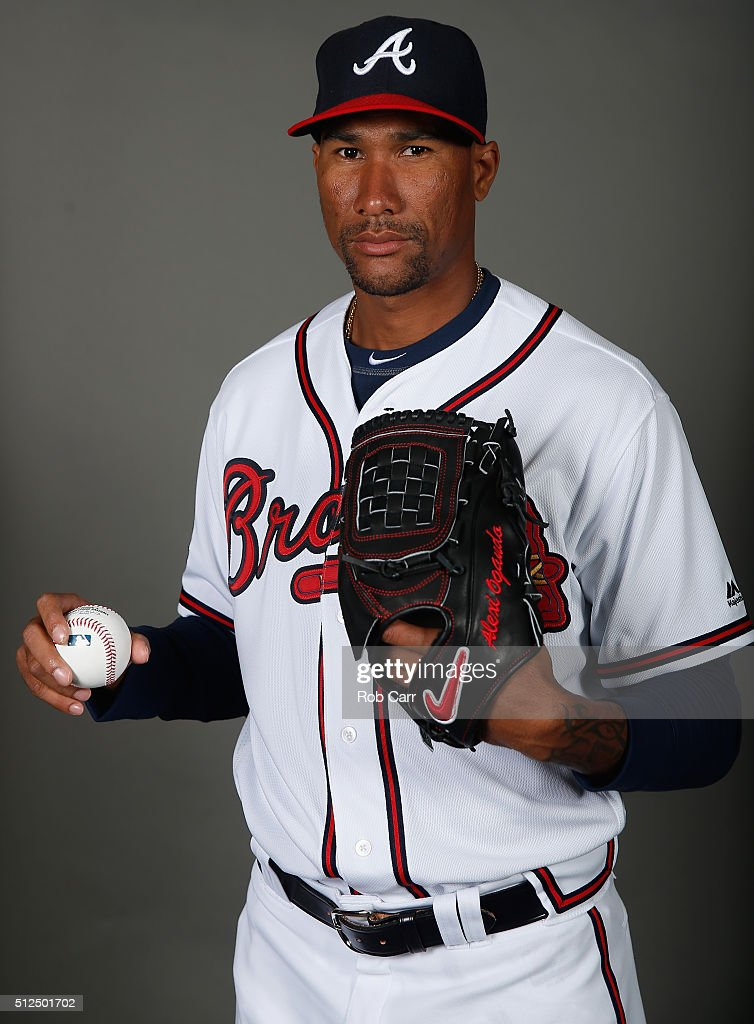 Alexi Ogando #40 of the Atlanta Braves poses on photo day at Champion Stadium on February 26, 2016 in Lake Buena Vista, Florida.