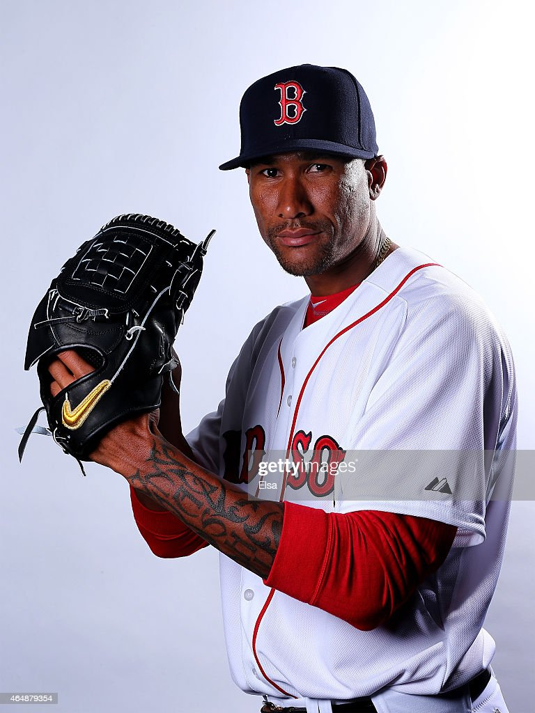 Alexi Ogando #23 of the Boston Red Sox poses for a portrait on March 1, 2015 at JetBlue Park in Fort Myers, Florida.