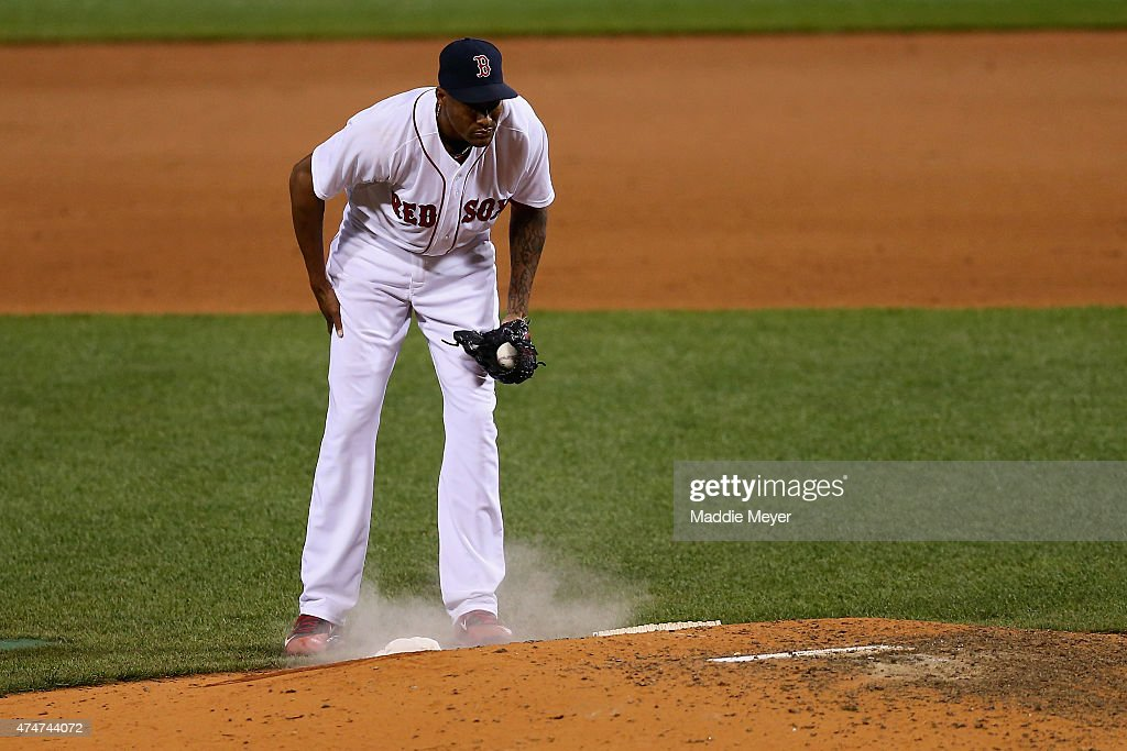 Alexi Ogando #41 of the Boston Red Sox reacts after Evan Longoria #3 of the Tampa Bay Rays hit a solo home run during the ninth inning at Fenway Park on May 6, 2015 in Boston, Massachusetts.The Rays defeat the Red Sox 5-3.