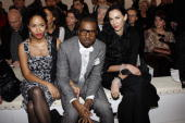 Alexi Pfeiffer and Kanye West and L'Wren Scott attend the Yvest Saint Laurent show during Paris Fashion Week FallWinter 20082009 at the Grand Palais...