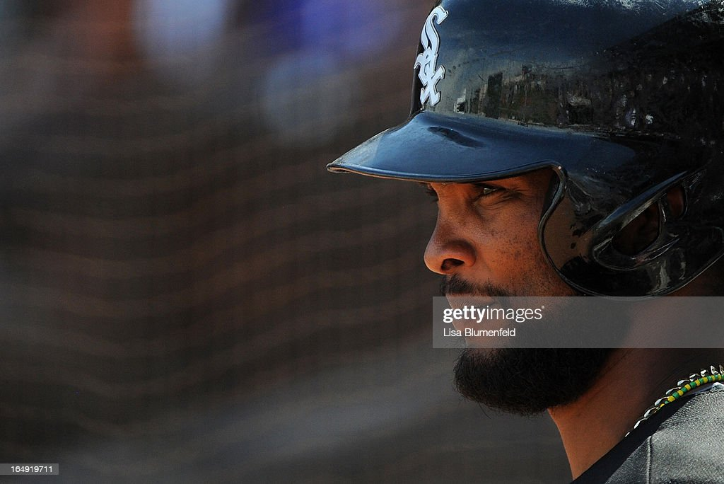 Alexi Ramirez #10 of the Chicago White Sox waits on deck during the game against the Texas Rangers at Surprise Stadium on March 26, 2013 in Surprise, Arizona.