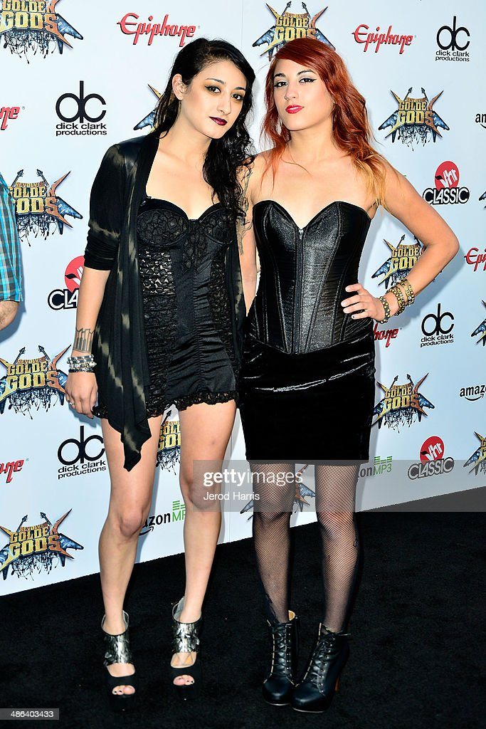 Alexia and Anissa Rodriguez of 'Eyes Set to Kill' arrive at the 2014 Revolver Golden Gods Awards at Club Nokia on April 23, 2014 in Los Angeles, California.