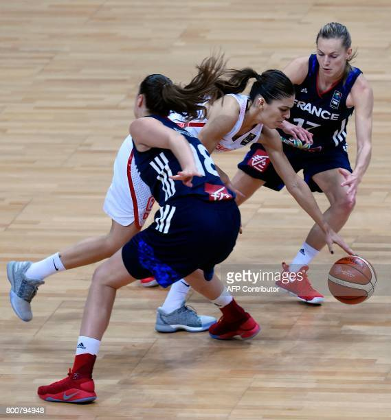 Alexia Chartereau and Marine Johannes of France try to block Marta Xargay of Spain during during the FIBA EuroBasket 2017 women's final match between...