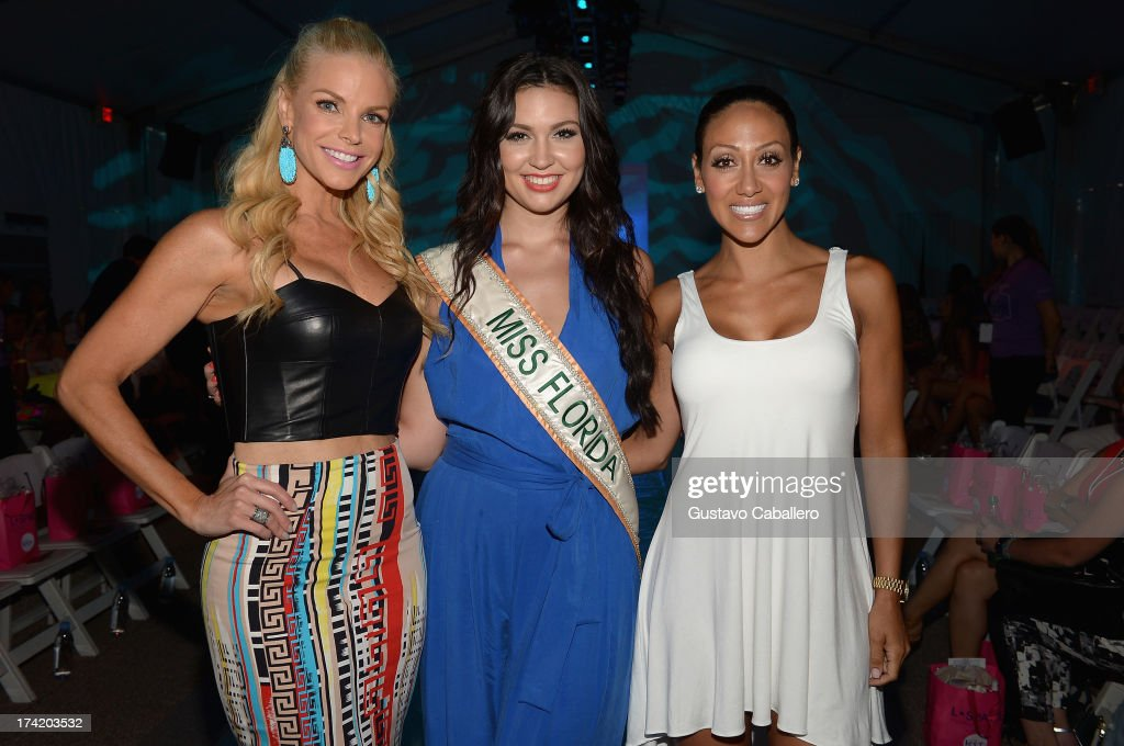 Alexia Echevarria, Cassandra Mandeville and <a gi-track='captionPersonalityLinkClicked' href=/galleries/search?phrase=Melissa+Gorga&family=editorial&specificpeople=7306775 ng-click='$event.stopPropagation()'>Melissa Gorga</a> pose with Ipanema at the L*SPACE By Monica Wise show during Mercedes-Benz Fashion Week Swim 2014 at Cabana Grande at the Raleigh on July 21, 2013 in Miami, Florida.
