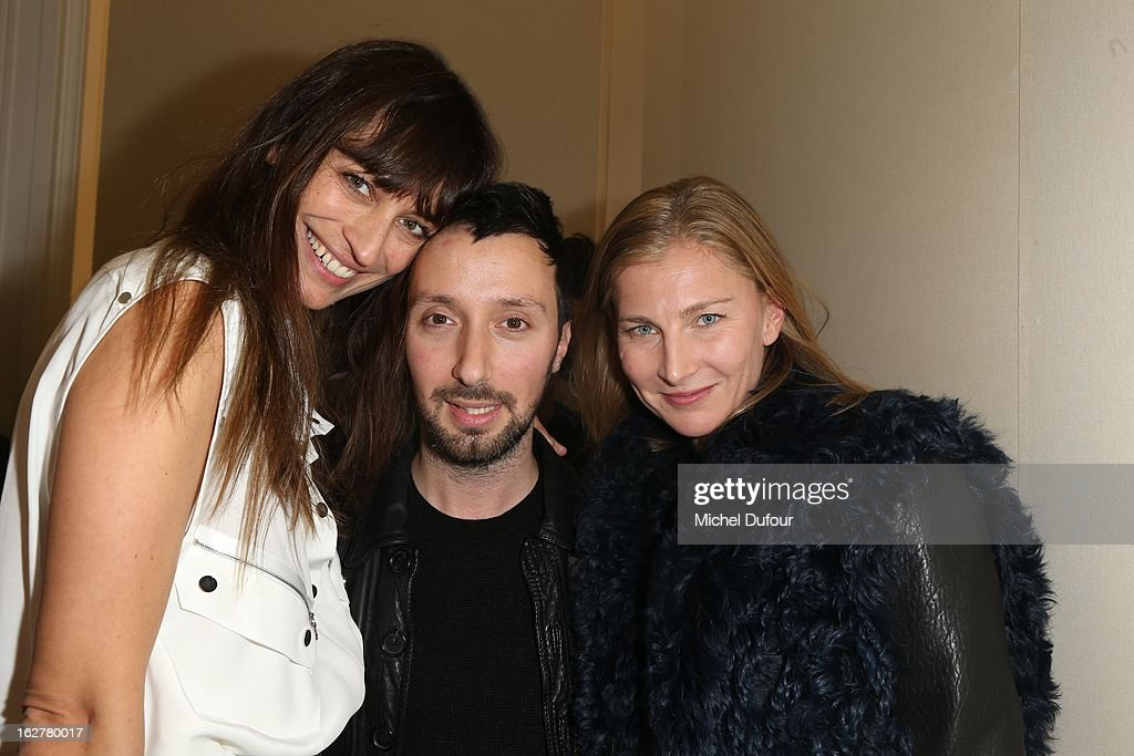 Alexia Niedzielski, Anthony Vaccarello and Elisabeth von Guttman attend the Anthony Vaccarello Fall/Winter 2013 Ready-to-Wear show as part of Paris Fashion Week on February 26, 2013 in Paris, France.