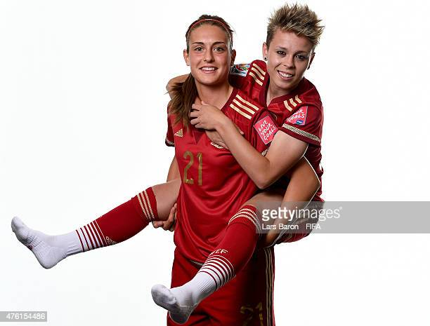 Alexia Putellas and Amanda Sampedro of Spain pose during the FIFA Women's World Cup 2015 portrait session at Sheraton Le Centre on June 6 2015 in...