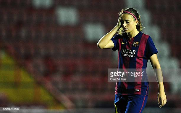Alexia Putellas of Barcelona leaves the field dejected following the final whistle of the UEFA Women's Champions League match between Bristol Academy...